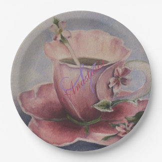 PINK BLOSSOM TEA CUP MONOGRAM PARTY PAPER PLATE