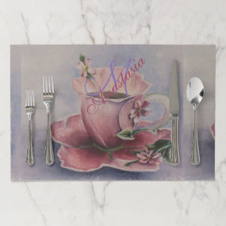 PINK BLOSSOM TEACUP MONOGRAM PARTY PAPER PLACEMAT