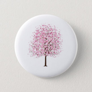 Pink Blossom Tree Badge Button