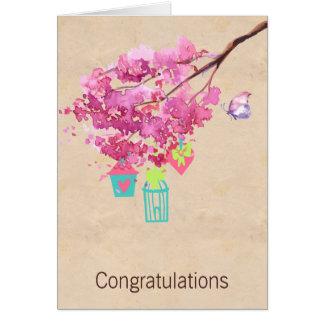 Pink Blossom Tree Wedding Congratulations Greeting Card