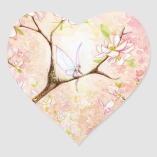 """Pink Blossom View"" Heart Sticker"