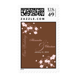 Pink Blossom Wedding Invitation Announcement Stamps