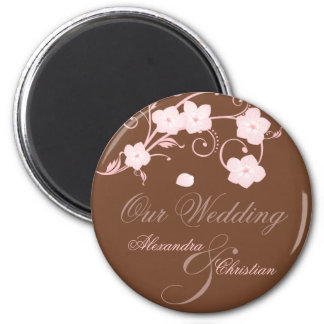 Pink Blossom Wedding Save The Date Announcement 2 Inch Round Magnet