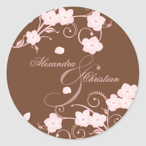 Pink Blossom Wedding Save The Date Announcement Classic Round Sticker