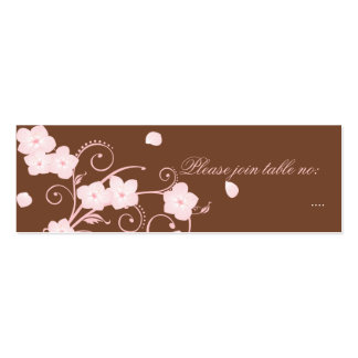 Pink Blossom Wedding Table Place Card Double-Sided Mini Business Cards (Pack Of 20)