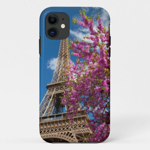 Pink Blossoming Tree Below The Eiffel Tower Phone Case