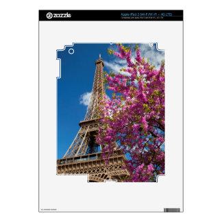 Pink Blossoming Tree Below The Eiffel Tower iPad 3 Skin