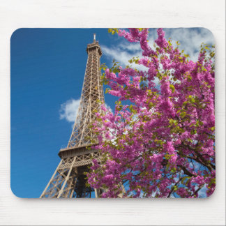 Pink Blossoming Tree Below The Eiffel Tower Mouse Pad