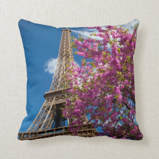 Pink Blossoming Tree Below The Eiffel Tower Pillows