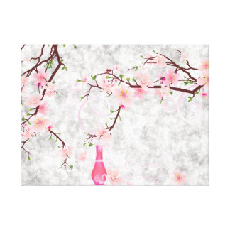 Pink Blossoms and Vase Canvas Print