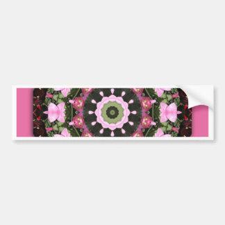 Pink Blossoms, Floral mandala-style Bumper Sticker