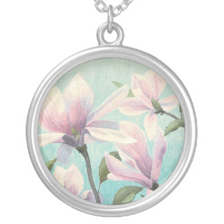 Pink Blossoms from the South Silver Plated Necklace