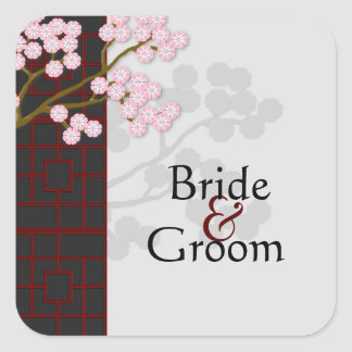 Pink Blossoms & Japanese Screen Wedding Stickers