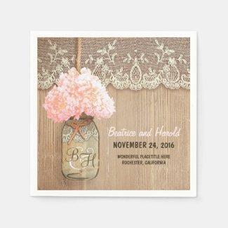 pink blossoms mason jar rustic paper napkins