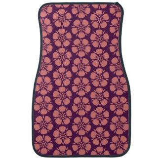 Pink Blossoms on Purple Pattern Car Mat