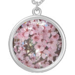 Pink Blossoms on Spring Flowering Tree Silver Plated Necklace