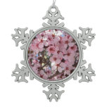 Pink Blossoms on Spring Flowering Tree Snowflake Pewter Christmas Ornament