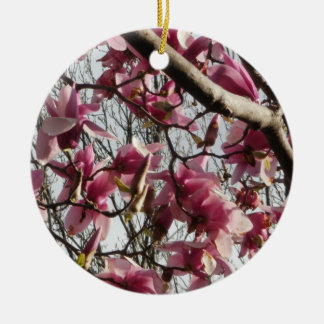 Pink Blossoms Double-Sided Ceramic Round Christmas Ornament