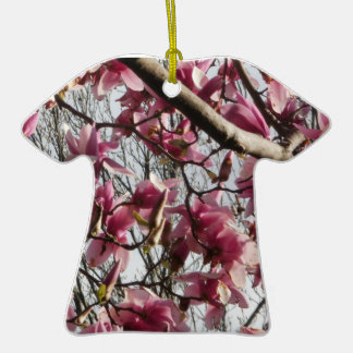 Pink Blossoms Double-Sided T-Shirt Ceramic Christmas Ornament