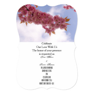 Pink Blossoms Party Family Friends Wedding Guests Card