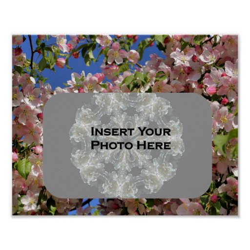 Pink Blossoms Photo Template Poster