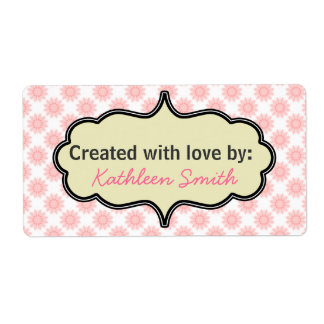Pink Blossoms Recipe/Goodies Label Shipping Label
