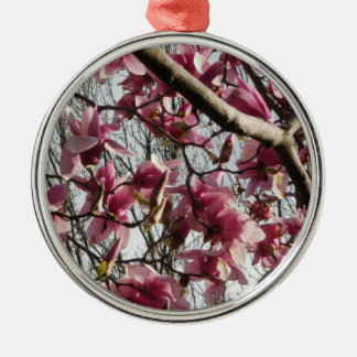 Pink Blossoms Round Metal Christmas Ornament