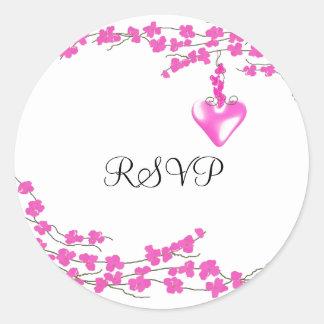 Pink Blossoms RSVP Classic Round Sticker