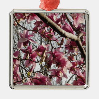 Pink Blossoms Square Metal Christmas Ornament