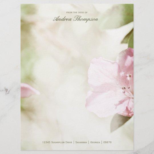 pink blossoms wedding letterhead