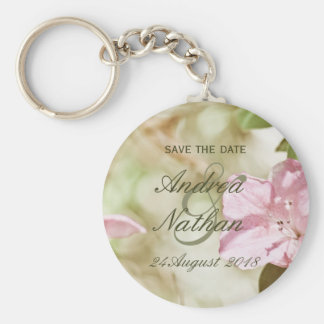 Pink Blossoms Wedding Save the Date Keychain