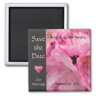Pink Blossoms Wedding Save the Date Magnet