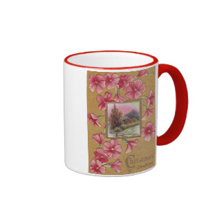 Pink Blossoms with Vignette Vintage Christmas Mugs