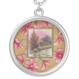 Pink Blossoms with Vignette Vintage Christmas Pendant