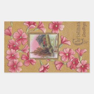 Pink Blossoms with Vignette Vintage Christmas Rectangular Sticker