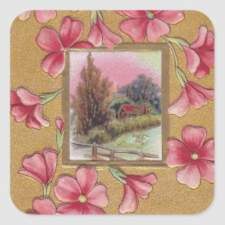 Pink Blossoms with Vignette Vintage Christmas Square Sticker