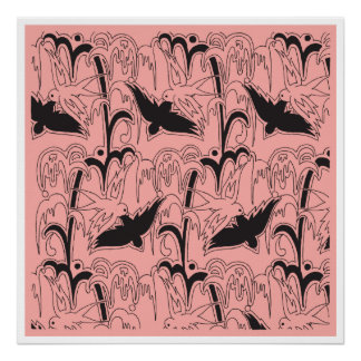 Pink Blown-up Deco Bluebird Wrapping Paper Poster