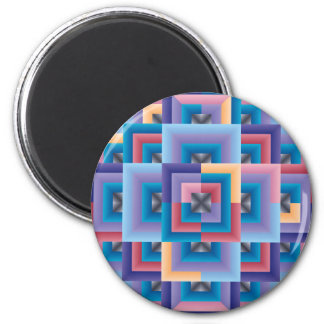 Pink Blue Abstract 2 Inch Round Magnet