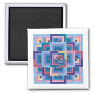 Pink Blue Abstract 2 Inch Square Magnet