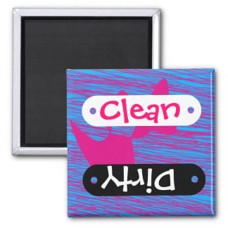 Pink Blue Abstract Clean Dirty Dishwasher Magnet