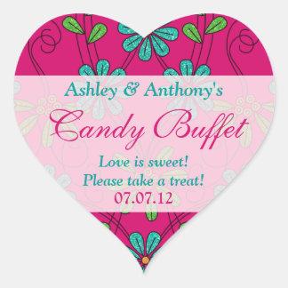 Pink Blue Abstract Daisy Floral Heart Candy Buffet Heart Sticker