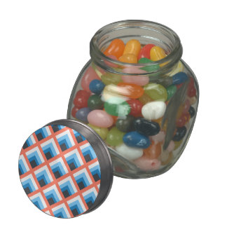 Pink Blue Abstract Geometric Designs Color Jelly Belly Candy Jar