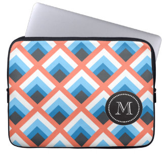 Pink Blue Abstract Geometric Designs Color Laptop Computer Sleeve