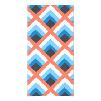 Pink Blue Abstract Geometric Designs Color Photo Greeting Card