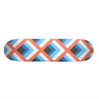 Pink Blue Abstract Geometric Designs Color Skateboard Deck