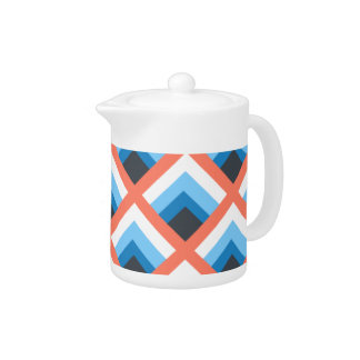 Pink Blue Abstract Geometric Designs Color Teapot