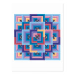 Pink Blue Abstract Post Card