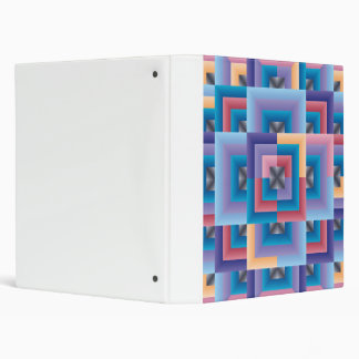 Pink Blue Abstract Quilt 3 Ring Binder