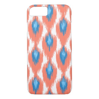 Pink Blue Abstract Tribal Ikat Diamond Pattern iPhone 7 Case