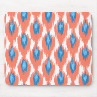 Pink Blue Abstract Tribal Ikat Diamond Pattern Mouse Pad
